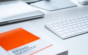 Brand Identity notepad on desk